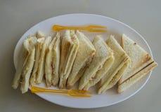 Sandwiches. Cut sandwiches in white dish Stock Photos