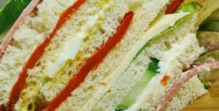Sandwiches de miga. Popular food items in Argentina, Chile and Uruguay royalty free stock images