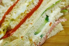 Sandwiches de miga. Popular food items in Argentina, Chile and Uruguay stock photo