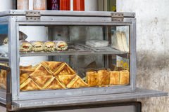 Sandwiches on display in Delhi, India Stock Photo