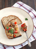 Sandwiches with eggplant caviar Stock Image
