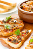 Sandwiches with eggplant caviar Stock Photo