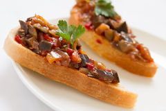 Sandwiches with eggplant caviar Stock Images