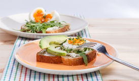 Sandwiches with eggs. Two sandwiches with eggs and avocado, and quail eggs on summer desk Stock Photo