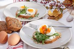 Sandwiches with eggs Stock Photos