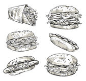 Sandwiches. Fast food. Snacks. Vector sketch. Stock Images