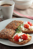 Sandwiches with feta and vegetables Royalty Free Stock Photography