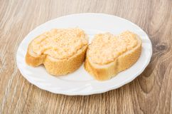 Sandwiches with fish sauce in white plate on table Royalty Free Stock Photos