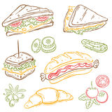 Sandwiches, food. Colorful vector set, sandwiches and vegetable Stock Photos