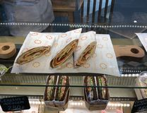 Sandwiches in food court gastronomic center in Zaryadie park, Moscow. Food, court. Stock Photo
