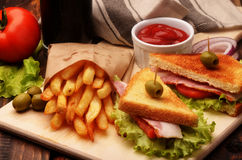 Sandwiches, french fries and soda Royalty Free Stock Photography
