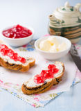 Sandwiches with fresh red currant jam Stock Photography