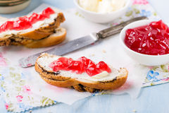 Sandwiches with fresh red currant jam Royalty Free Stock Image