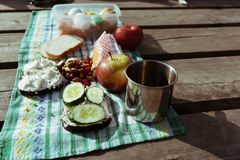 sandwiches, fruits, vegetables and nuts for a picnic on a checkered tablecloth royalty free stock photos