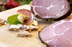 Sandwiches with gammon, greens and olive Royalty Free Stock Photo