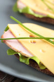 Sandwiches with ham and cheese Royalty Free Stock Image
