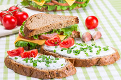 Sandwiches with ham and cheese Royalty Free Stock Photos