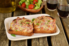 Sandwiches with ham and cheese for lunch. Open sandwiches for lunch with red wine stock image