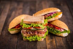 Sandwiches with ham and cheese Stock Photos