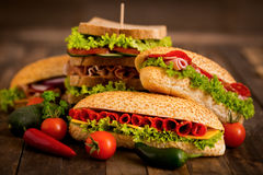 Sandwiches with ham and cheese Royalty Free Stock Photography