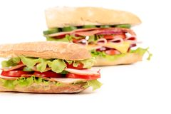 Sandwiches with ham and tomato. Stock Photography