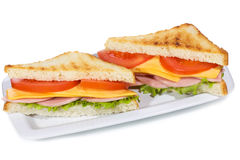 Sandwiches with ham and vegetables Royalty Free Stock Images