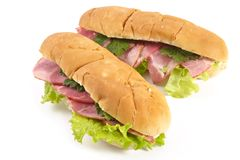Sandwiches with ham and vegetables Royalty Free Stock Photography