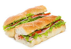 Sandwiches with ham and vegetables Stock Photos
