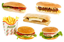 Sandwiches. Hamburger sandwiches with cheese and vegetables Stock Image