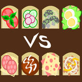 Sandwiches. Health sandwiches vs unhealthy ones stock illustration