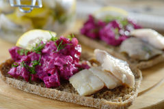 Sandwiches with herring stock photo