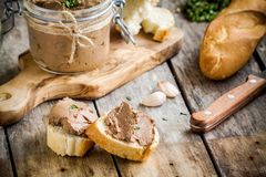 Sandwiches with homemade chicken liver pate for breakfast Stock Image