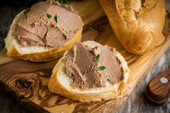 Sandwiches with homemade chicken liver pate for breakfast Stock Images