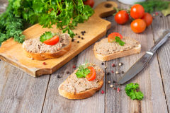 Sandwiches with homemade pate Royalty Free Stock Photo