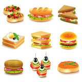 Sandwiches icons vector set Royalty Free Stock Photos