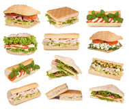 Sandwiches isolated on white Stock Photos