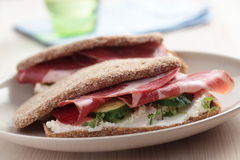 Sandwiches with jamon Stock Photography