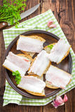 Sandwiches with lard Stock Photos