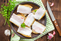 Sandwiches with lard Stock Photography