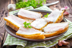 Sandwiches with lard Royalty Free Stock Photography