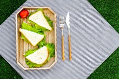 Sandwiches with lettuce for picnic on tablecloth on green grass background top view Stock Image