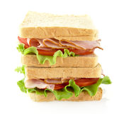 Sandwiches with lettuce,tomato,cold cuts on white. Background Stock Images