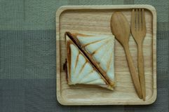 Sandwiches like on a wooden tray. royalty free stock photos
