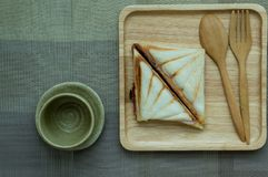 Sandwiches like on a wooden tray. stock image