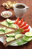 Sandwiches with liver sausage and cup coffee Royalty Free Stock Image