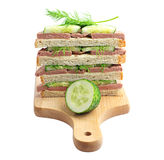 Sandwiches with liver sausage on a cutting board Royalty Free Stock Photo
