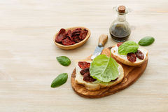 Sandwiches with mascarpone, dried tomatoes, basil Stock Images