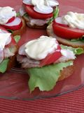 Sandwiches with mayonnaise. Fresh spring time sandwiches: bread, butter, lettuce, pork, tomato, radish and mayonnaise royalty free stock photography