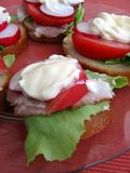 Sandwiches with mayonnaise. Fresh spring time sandwiches: bread, butter, lettuce, pork, tomato, radish and mayonnaise stock image