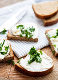 Sandwiches with melted cheese and herbs Royalty Free Stock Images